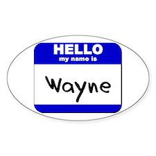 hello my name is wayne Oval Decal