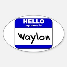 hello my name is waylon Oval Decal