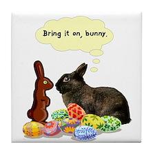 Easter Bunny Attitude Tile Coaster