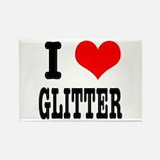 I Heart (Love) Glitter Rectangle Magnet
