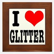 I Heart (Love) Glitter Framed Tile