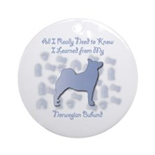 Learned Buhund Ornament (Round)