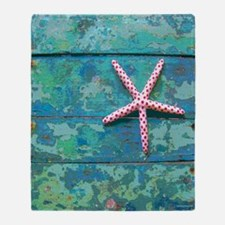 Starfish and Turquoise Seashore Throw Blanket