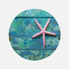 "Starfish and Turquoise Seashore 3.5"" Button"