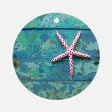 Starfish and Turquoise Seashore Round Ornament