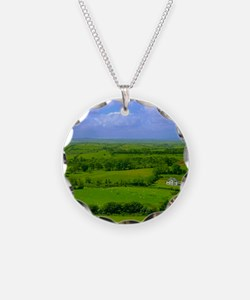 Ireland Green Pastures Photo Necklace Circle Charm