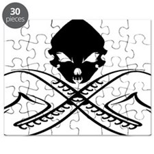 Skull and Saxophone Black Puzzle