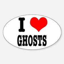 I Heart (Love) Ghosts Oval Decal