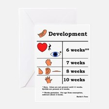 Fetal Development table (black print Greeting Card