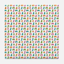 Small Cats Multicolor Tile Coaster
