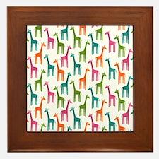 Giraffes Flip Flops Framed Tile