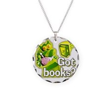 Reading Dragon BL Necklace Circle Charm