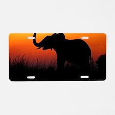Elephant at Sunset Aluminum License Plate