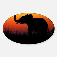 Elephant at Sunset Sticker (Oval)