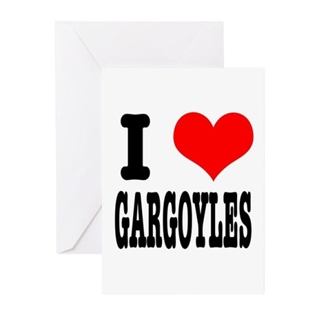I Heart (Love) Gargoyles Greeting Cards (Package o
