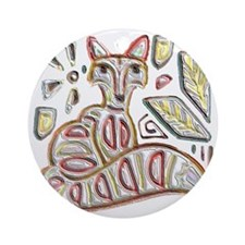 FANCY THE FOX Round Ornament