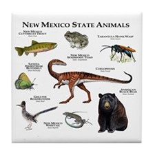 New Mexico State Animals Tile Coaster