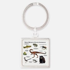 New Mexico State Animals Square Keychain