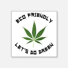 "Eco Friendly Lets Go Green Square Sticker 3"" x 3"""