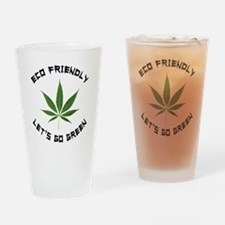 Eco Friendly Lets Go Green Drinking Glass