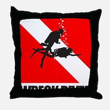 Wreck Diver (blk) Throw Pillow