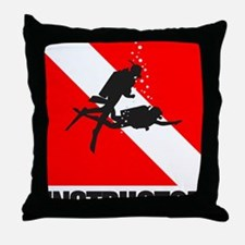 Dive Instructor (blk) Throw Pillow