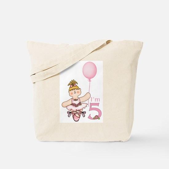 Ballerina 5th Birthday Tote Bag