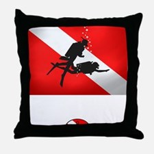 Salvage Diver 2 (back)(white) Throw Pillow