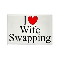 """I Love (Heart) Wife Swapping"" Rectangle Magnet"