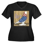 Patriotic Hobby West Women's Plus Size V-Neck Dark