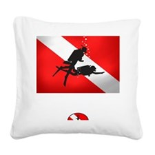 Dive Instructor 2 (back)(whit Square Canvas Pillow