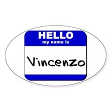 hello my name is vincenzo Oval Decal