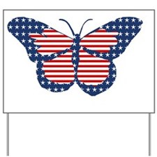 American Flag Butterfly Art Yard Sign