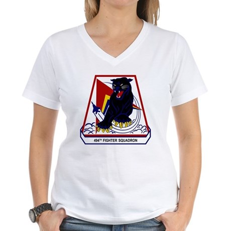494th FS Panthers Women's V-Neck T-Shirt