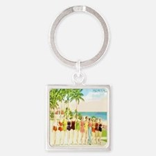 Miami Beach Beauties Square Keychain