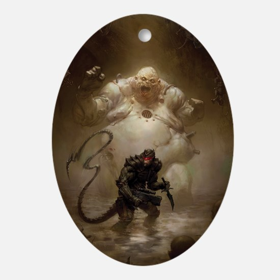 Warlash vs. Zombie Mutant by Ben Ols Oval Ornament