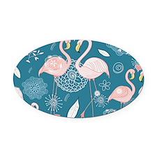Cute Flamingos Oval Car Magnet