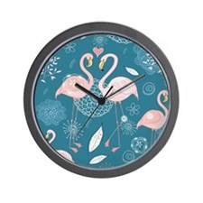 Cute Flamingos Wall Clock
