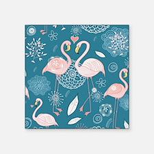 "Cute Flamingos Square Sticker 3"" x 3"""