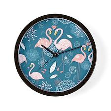 Cute Flamingos Wall Clock