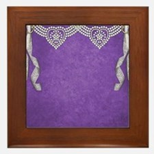 Purple Lace and White Pearls Framed Tile