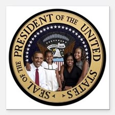 """Obama First Family T SHi Square Car Magnet 3"""" x 3"""""""