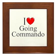 """""""I Love (Heart) Going Commando"""" Framed Tile"""