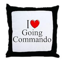 """I Love (Heart) Going Commando"" Throw Pillow"