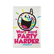 Party Hard Smiley Rectangle Magnet
