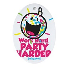 Party Hard Smiley Oval Ornament