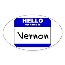 hello my name is vernon Oval Decal
