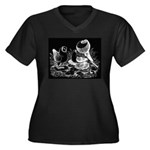 Etched Pigeon Trio Women's Plus Size V-Neck Dark T