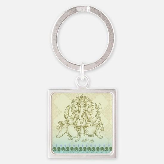 Ganesha Dip Dye Square Keychain