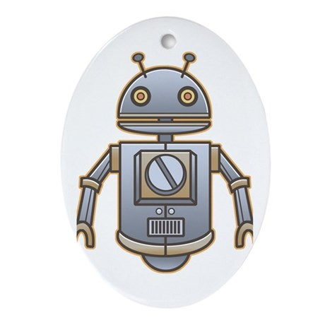 Little Retro Robot Oval Ornament